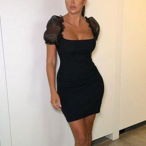 Dresses & Skirts - Black Mesh Puff Short Sleeve Organza Mini Dress
